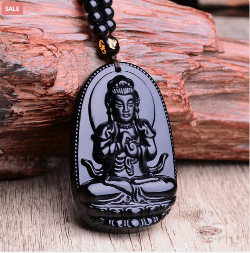 Natural Stone Black Obsidian Carved Buddha Lucky Amulet Pendant
